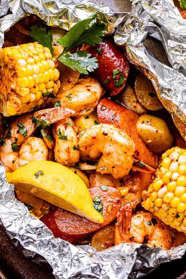 Shrimp boil foil packs for 4th of july celebreation
