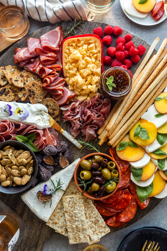 Summer charcuterie board for 4th of july celebreation