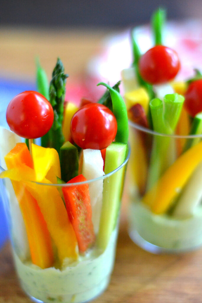 Green goddess dip veggie cups for 4th of july celebreation
