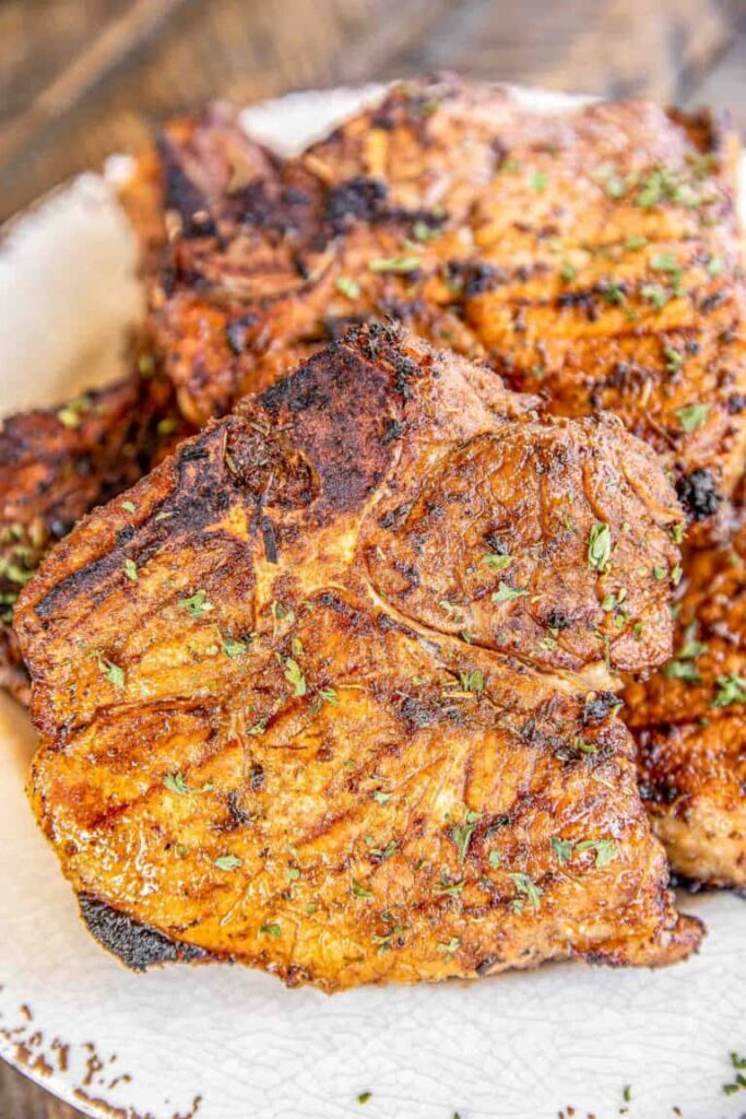 Blacked grilled pork chops for 4th of july celebreation