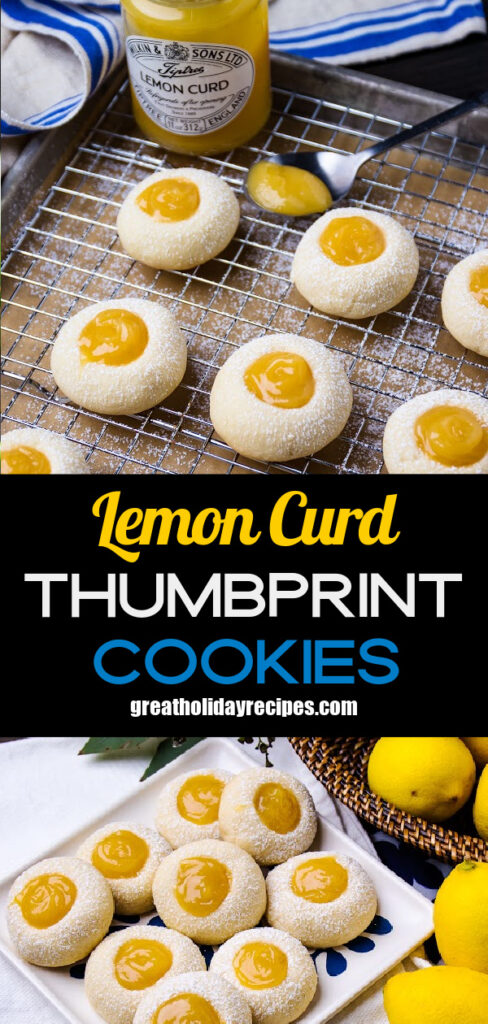 Lemon Curd Thumbprint Cookies are easy to make with prepared lemon curd.