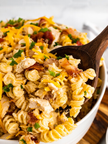 Wooden spoon with Chicken Bacon Ranch Pasta