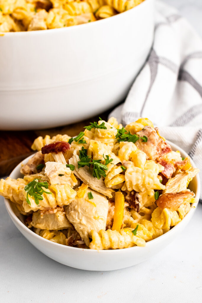 Chicken Bacon Ranch Pasta in a white bowl.