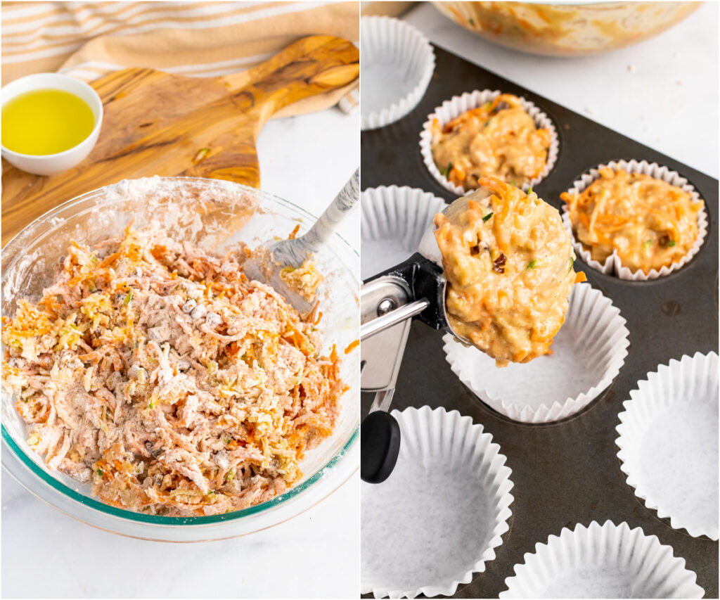 Morning Glory Muffins dough and then scooped for muffin tins.,