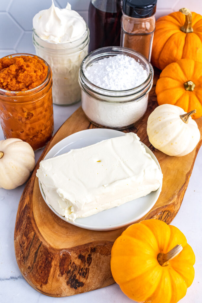 4 ingredients for Pumpkin Dip for fall.